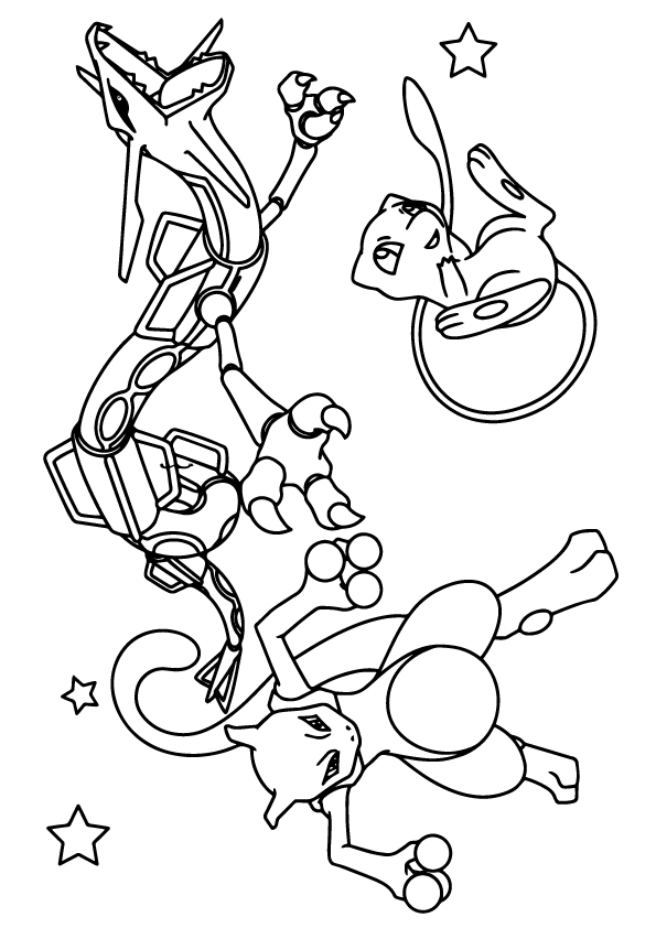 mewtwo, rayquada and mew coloring - play free coloring