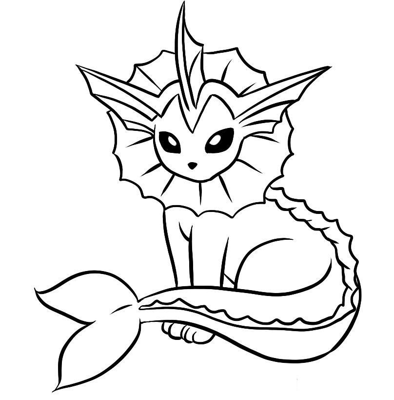 Vaporeon Pokemon Coloring - Play Free Coloring Game Online