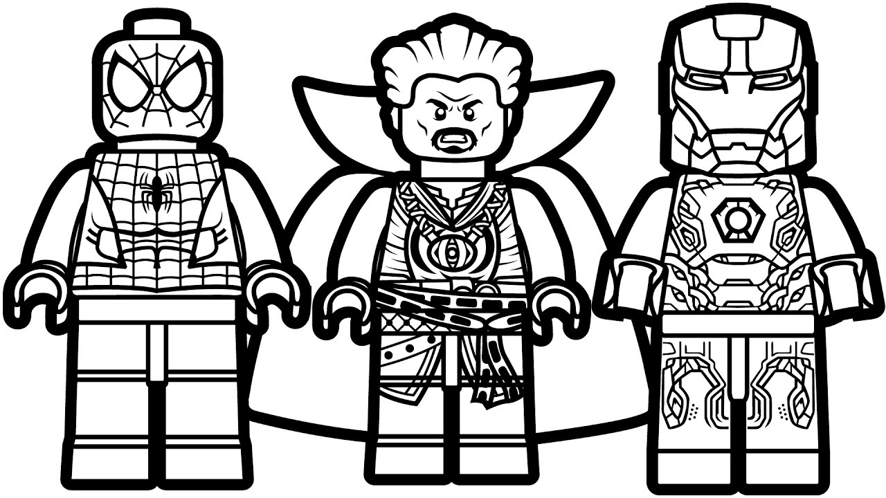 Lego: Spiderman, Doctor Strange And Iron Man Coloring ...