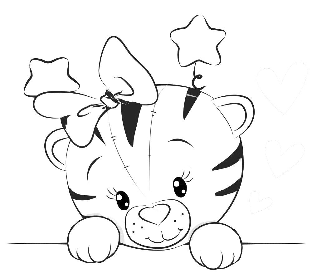 Lovely Cartoon Tiger Coloring - Play Free Coloring Game Online