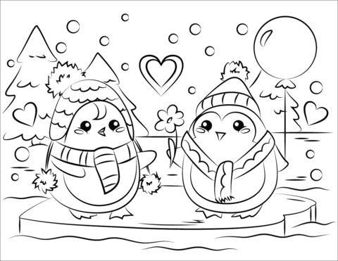 Cute Two Penguins Coloring - Play Free Coloring Game Online
