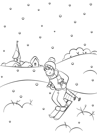 Boy Snowboarding Coloring - Play Free Coloring Game Online