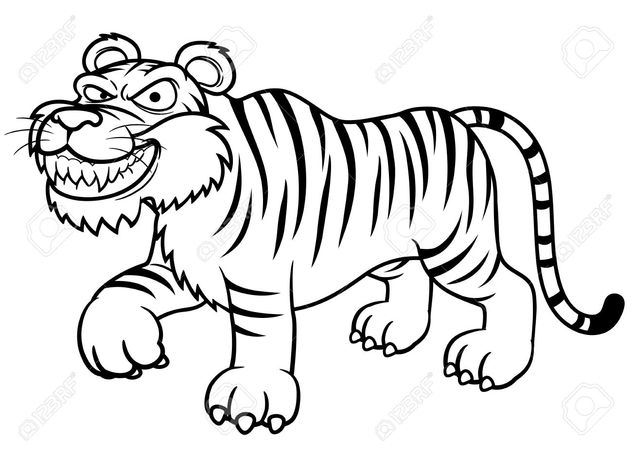 tiger with creepy smile coloring  play free coloring game