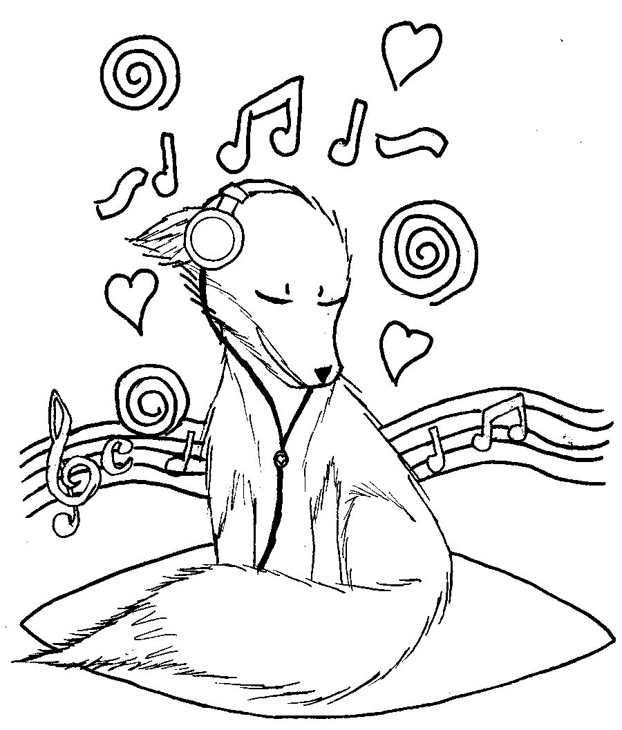 Fox Listening To Music Coloring - Play Free Coloring Game ...