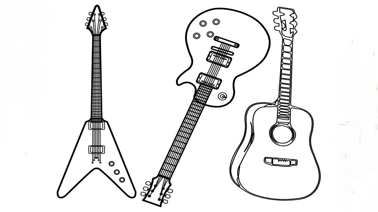 Three Types Of Guitar Coloring Play Free Coloring Game