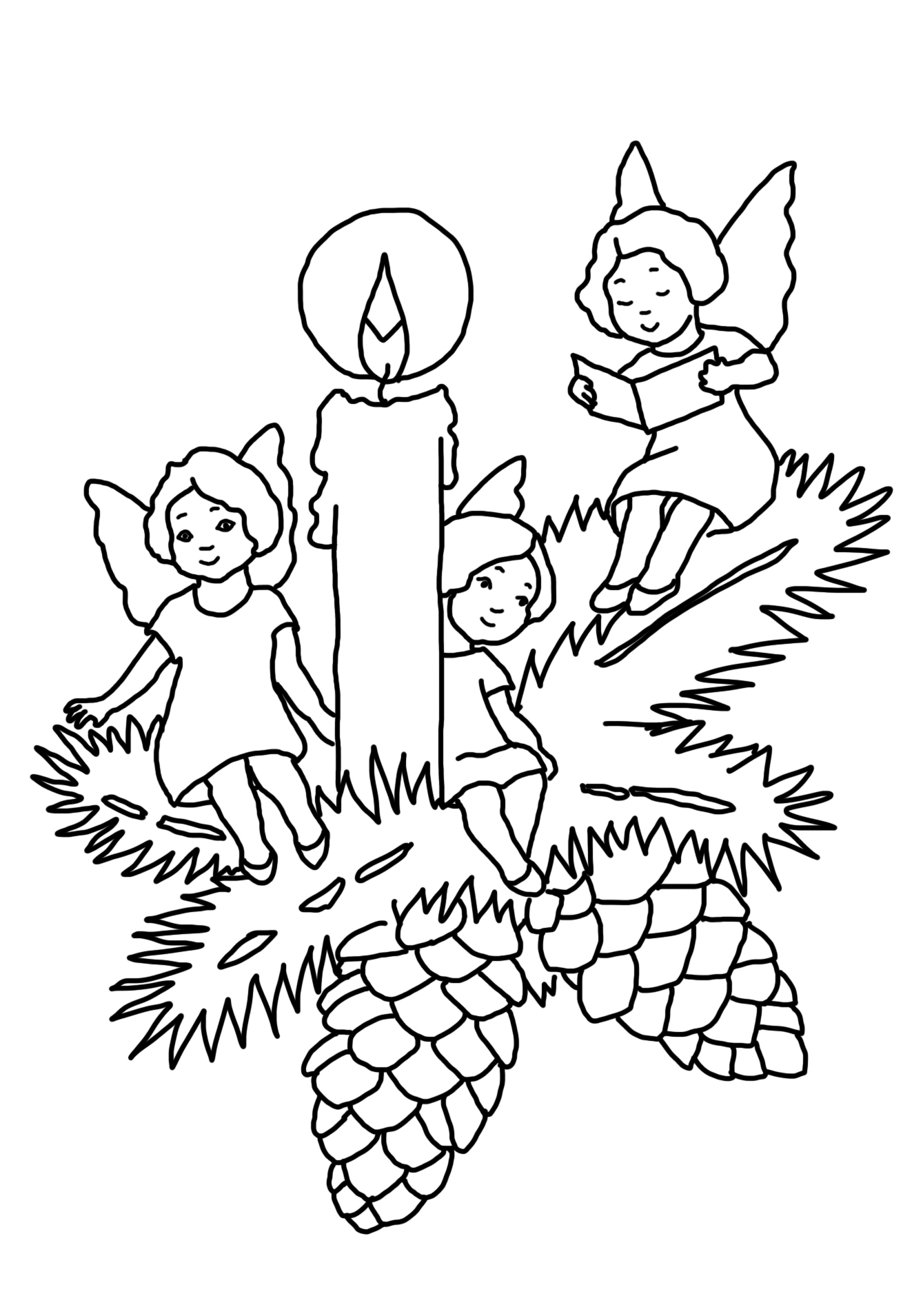 Christmas Candle And Angels Coloring - Play Free Coloring ...