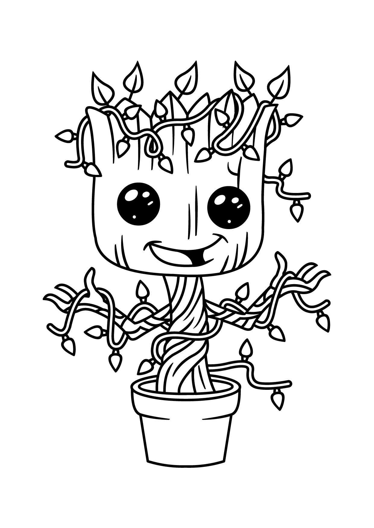 Small Groot In Flower Vase Coloring - Play Free Coloring ...