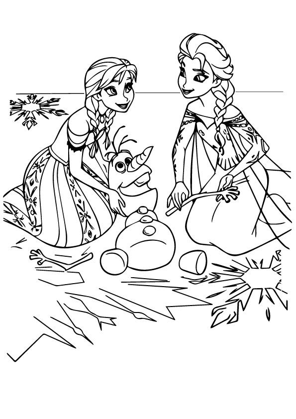 Anna And Elsa With Olaf