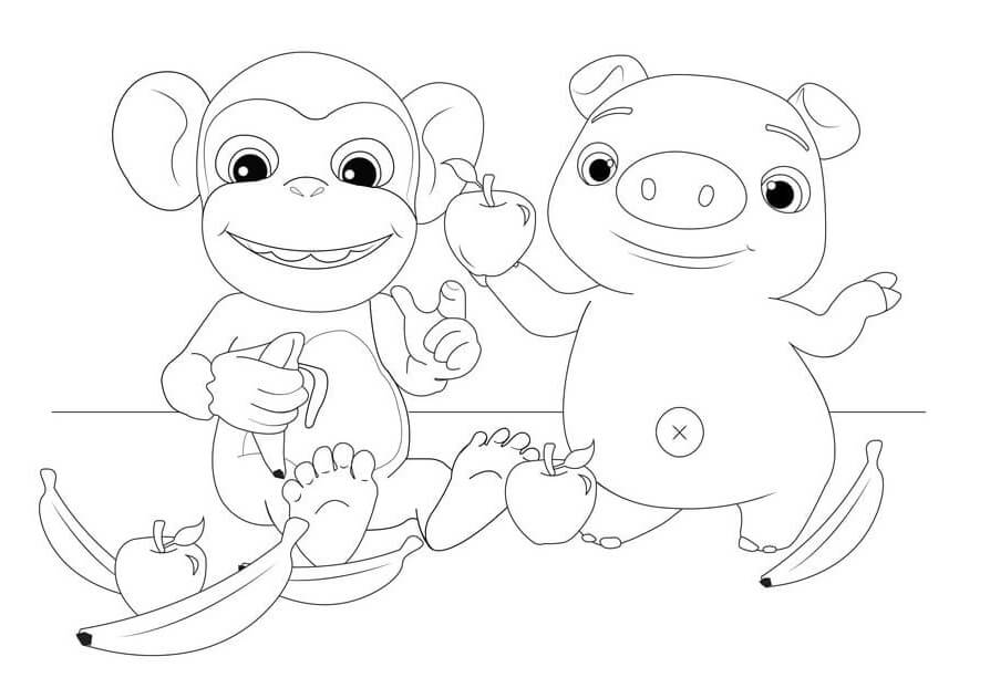 Cocomelon Monkey and Pig