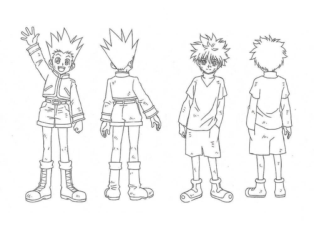 Gon and Killua Hunter x Hunter coloring page