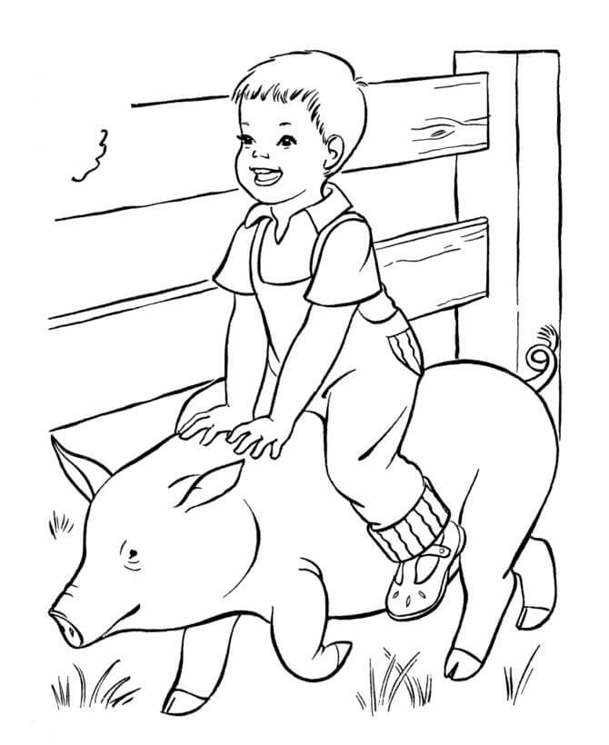 Kid and Pig in a Farm