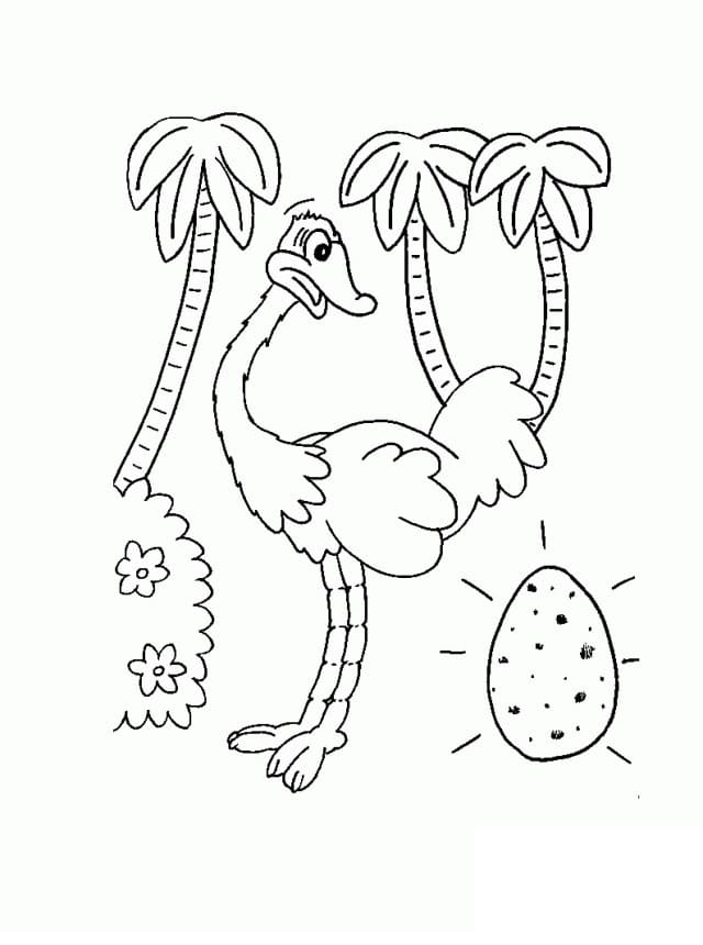 Ostrich with Egg