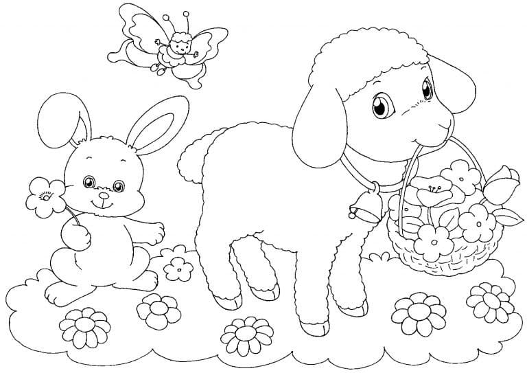 Sheep with Easter Basket